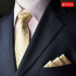 (50 шт / Lot) Фабрика Классические мужские 100% Silk Luxury Wedding Party Neck Ties Set (Платок Галстук) Платок Hanky Tie
