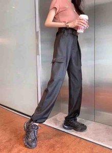 Kadınlar pantolon Casual Bayan Ters Üçgen Boyut M-XL ile Kemer Tam Boy Sweatpants Moda Kadınlar Pant ile Kargo Pantolon