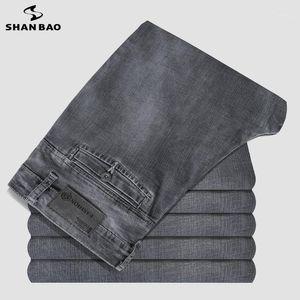 Shan Bao Bao Classic Pocket Grey Jeans 2021 Printemps Marque Entreprise Casual Homme Straight High Quality Denim Denim Jeans1