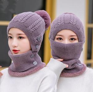 Esportes ao ar livre Windproof chapéu de inverno manter aquecido Chapéu de pelúcia colar dois pedaço conjunto sólido cor espessada chapéu de festa de festa 12 cor gwc5458