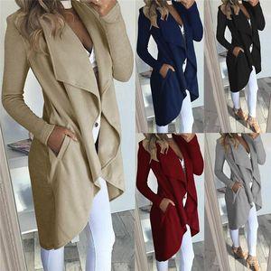 2021 Winter Coat Womens Ladies Long Sleeve Slim Blazer Suit Coat Work Jacket Formal Suit Long Crepe Cardigan Sleeve Trench Coat