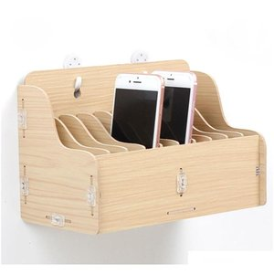 hanging wooden mobile phone management storage box desktop office meeting finishing grid multi cell phone rack shop display
