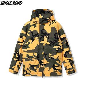 SingleRoad Herren Winter-Down Jacket Men 2020 Lange Fracht-Jacken-Mantel Parka Winddichtes Hip Hop Street Camo Für Men Style