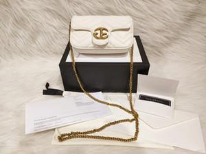 2020 Modefrauentasche kleine Größe Super-Mini-weiche Ledergeldbeutel Kupfer-Kette Tasche Damen Flip Tasche Querschulterbeutel mit weißen Kasten