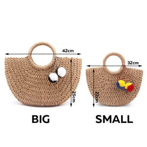 New Summer Handmade Bags Women Pompon Beach Weaving Ladies Straw Bag Wrapped Beach Bag Moon shaped Bag 201006