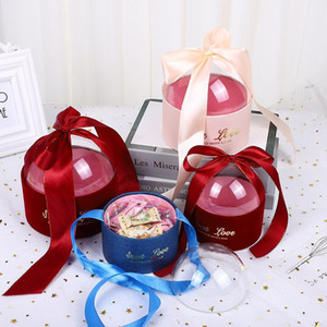 Wedding Candy Box Transparent Acrylic Round Gift Box Wedding Gift Packaging for Guests Pink Boxes for Baby Shower Party