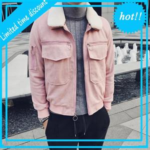 2020 Bomber Jackets Mens Pink Fur Coat Winter Jacket Short Slim Fit Social Chaquetas Hombre Erkek Kurk Yaka Mont Kaban