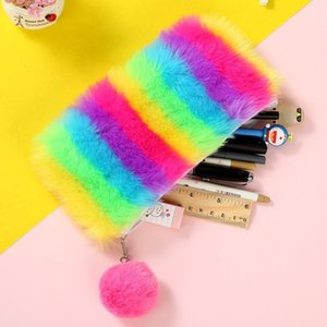 Kawaii Back to School Pencil Case for Girls Pencilcase Cute Plush Pen Bag Korean Cartridge Box Big Rainbow Penal Stationery Kit1