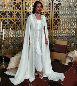 Arabic Dubai Muslim Evening Dresses moroccan Kaftan Chiffon Cape Chiffon Prom Special Occasion Gowns Long Sleeve Dress Evening Wear robes