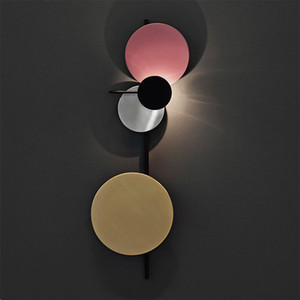 Nordic Loft Multicolor Metal Round Circle Led Wall Lamp Art DIY Style Planet Led Wall Scones Hotel Bedside Decro Indoor Lighting
