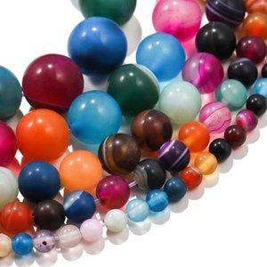 1trand lot 4 6 8 10mm de couleurs mélangées Stripes CARNELLIEN ROUND ROUND SPACER perle pour bricolage Bracelet Bijoux Fournitures accessoires H WMTCRX