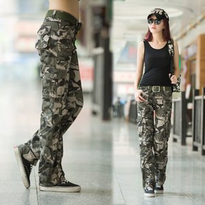 Women's Multi Pocket camouflage pants wide pants outer sports sleeve hiking climbing ladder right military training tactical pants