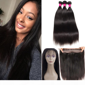 8A Grade Brazilian Virgin Hair Bundles Straight Body Wave Hair With 360 Full Lace Closure 100% Unprocessed Virgin Human Hair Extensions