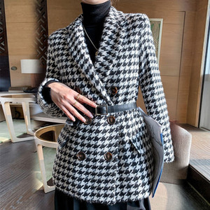 Winter jacket new Korean version with waist bag houndstooth woolen coat suit thick and loose J0112