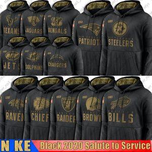 Noir Salut à Service Sweat à capuche PittsburghSteelersRaidersRavensPatriotschefsTitan BillsBengale