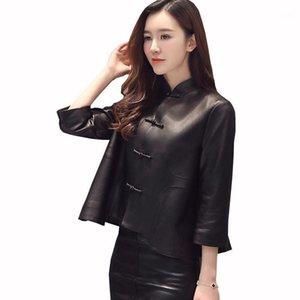 Kulazopper feminino jaqueta de couro genuíno Real casaco de pele de carneiro curto casaco fino para mulheres de alta qualidade stand colar outwear Zs4021