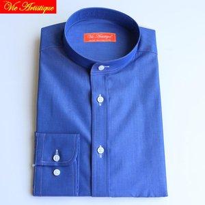 Custom Bespoke Made Hombre Vestido Camisas de negocios Nave Formal Sastre Blusa Royal Bespoke 100% algodón Blusa Azul Libre Boda CFRXA