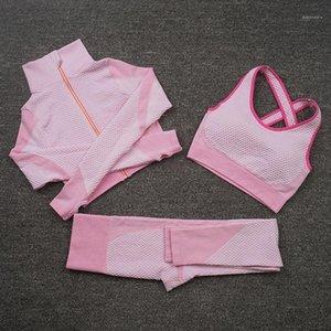 YOGA OUTFITS Femmes Zip Up Set d'entraînement Vêtements à manches longues Crop Top Fitness Soutien-gorge Leggings Seamless Gym Sport Costume Running Tracksuits1