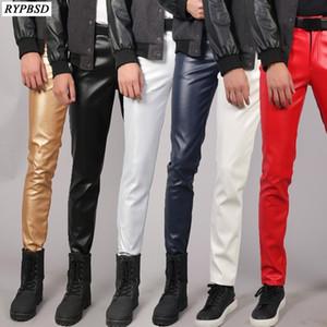 ПУ кожаных штанов мужчины Slim Fit Stretch вскользь высокое качество Zipper Тощие Ночной Поддельные Мужские кожаные штаны Плюс Размер 38 200930