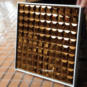 3D Copper 5 Bevelled Edges Diamond Mirror Mosaic Tiles DIY Bathroom Showroom Displaying Cabinet Decorate Wall Sticker Outdoor
