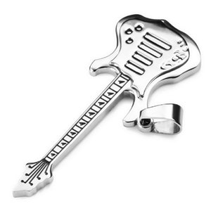 Fashion men&Women's Stainless Steel Pendant Necklace Silver Guitar with Chain Men Rock punk pendant free shipping