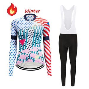 Winter Women Bike Thermal Fleece Skinsuit Set Pro Cycling Jersey Bib Pants Clothing Suit Bicycle MTB Clothes Kit Uniform Maillot