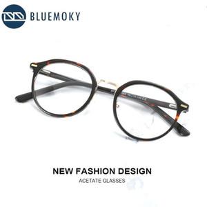 BLUEMOKY Vintage Asetat yuvarlak gözlük Çerçeveler İçin Erkekler Kadınlar Tasarımcı Optik Optik Miyop Gözlük Reçete Gözlükler