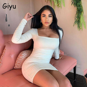 Giyu Sexy Backless White Dress Mulheres 2021 Primavera Verão Manga Longa Lace Up Bodycon Club Festa Vestidos Preto Mini Vestidos Robe