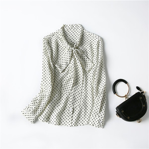 Europe and the United States women's clothing New spring 2021 Polka dot print with long - sleeved bow collar Fashion silk shirt