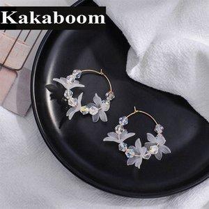 Kakaboom women's Acrylic flowers Beaded crystal Hoop Earrings All-match lovely fashion jewelry delicate fairy style hoop earring XKv8#