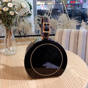 Moda Lady Şeffaf Yuvarlak Çanta Takı Ruj ile Zincir Temizle Omuz Çantaları Kadın Çanta Mini Çanta Alışveriş Açık Çanta