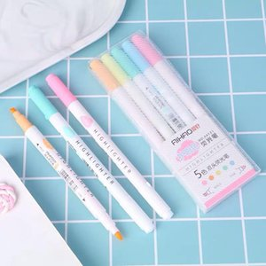 5 Colors Set Double Head Highlighter Ins Cold Color Eye Protection Fluorescent Pen for Student Supplies