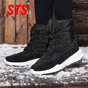 STS Women's Casual Winter Snow Boots Plush Comfortable Ankle Boots Warm Short Snow Boot High Wedge Shoes Ladies Winter Plus Size 201019