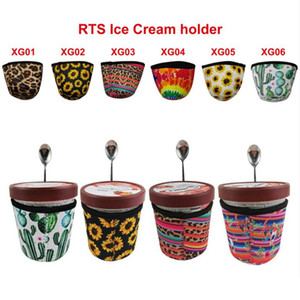 6 Design Leopard-Muster Wiederverwendbare Neopren-Eiscreme-Halter Sleeve Ice Cream Kuschelige Schutzdecke Becherhalter Insulator Cup-Hülse mit Löffelhalter