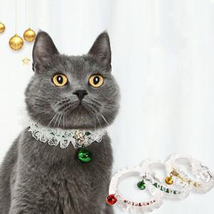 Collier de chien de Noël en dentelle 3 Cloches couleur Collier mignon de chat pour animaux pour les chiens Décorations de Noël XD24106