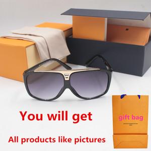 أزياء Louis Vuitton  1PCS جولة نظارات نظارات شمسية نظارات شمسية مصمم العلامة التجارية الإطار الأسود المعادن الظلام 50MM العدسات الزجاجية لحالات رجل إمرأة أفضل براون