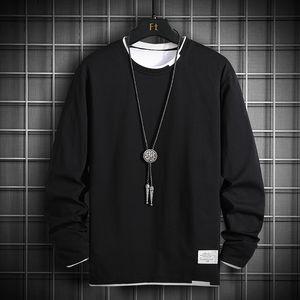 Мужская футболка Men 2020 Осень Крупногабаритные 100% хлопка с длинным рукавом футболки японский Streetwear Vintage Black T-Shirt Men