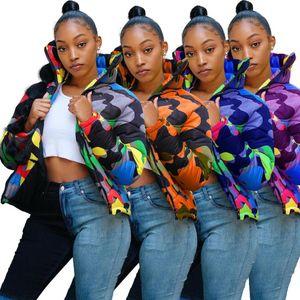 Down Jacket Vestes Zipper coton Vêtements pour femmes Couple nouveaux hommes Veste matelassée couleur camouflage Impression Dyeing Pain