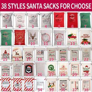 قماش عيد الميلاد سوانتس حقيبة كبيرة الرباط أكياس الحلوى سانتا كلوز حقيبة عيد الميلاد سانتا أكياس هدية أكياس لعيد الميلاد الديكور FWB1273