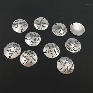 """10 alaşım gümüş """"fırtınadan daha güçlü ol"""" Yuvarlak DIY Antika Mesaj Charms Kolye Bilezik ve Necklace1 Yapmak için"""