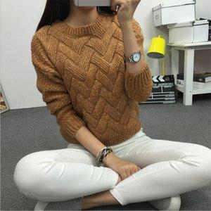 LuisesAndyhan Frauen Pullover Weibliche Beiläufige Pullover Plaid Oansatz Langarm Mohair Pullover Herbst- und Winterstil 201204
