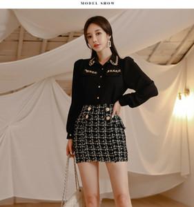 2021 mujeres del resorte de los vestidos de la manga de la linterna Negro camisa de la gasa de la blusa Oficina Set + Mezcla de lana a cuadros Falda tubo corto Señora 2 Piezas