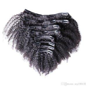 자연 머리 몽골 변태 곱슬 클립 헤어 익스텐션 100g 7pcs 로트 4A 4B 4C AFRO Kinky 클립 확장