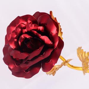 Golden Lámina Red Rose Flower Long Tallo de amor Soporte Soporte de rosa Base para el día de San Valentín Día Madre Cumpleaños PPD3793