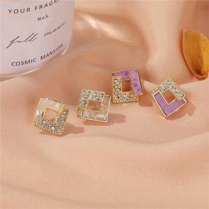 10pairs Geometric 925 Silver Diamond Stud Earrings Alloy Rhombus Joint Hollow Zircon Ear Drop Women Business Party Purple Earring Jewelry