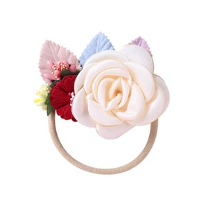 INS handwork Flower baby headbands sweet princess girls headbands nylon kids headband baby head bands baby girl hair accessories B3406