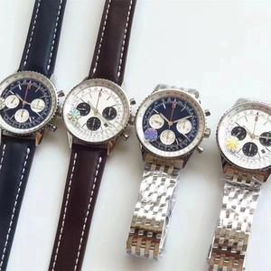 Новый роскошный Человек breitling B01 часы 43мм кожа стальной ленты кварц механическое движение полный Navitimer рабочий часы дизайнер наручные часы eHTc #