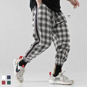 3XL Moda Vintage Joggers Pantalones 2019 pantalones para hombre de Carga Streetwear Hip hop Hombre Plaid Pantalones Pantalones Japón Primavera Trajes de hombres