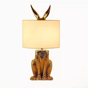 Modern Gold Masked Rabbit Table Lights Cloth Lampshade Table Lamps Living Room Bedside Creative Led Desk Lamp