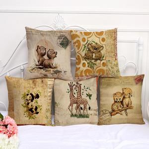 Cute Little Animal Monkey Leopard Giraffe Pillow Case Cushion Cover Linen Cotton Throw Square Pillowcase Cover Drop Ship